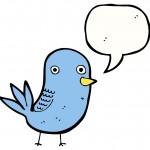 cartoon caricature of twitter bird