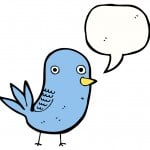 cartoon caricature of twitter bird