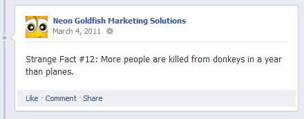 Sample Facebook post: Strange Fact More people are killed from donkeys in a year than planes
