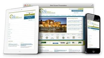 Responsive website example showing how the DAAR website displays on multiple devices.