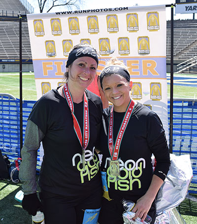 Carrie and Mindy after 2015 Glass City Marathon
