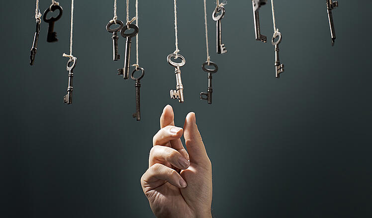 Hand reaching up for one of many dangling keys.