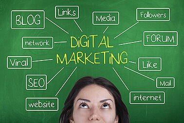Woman thinking about digital marketing concepts