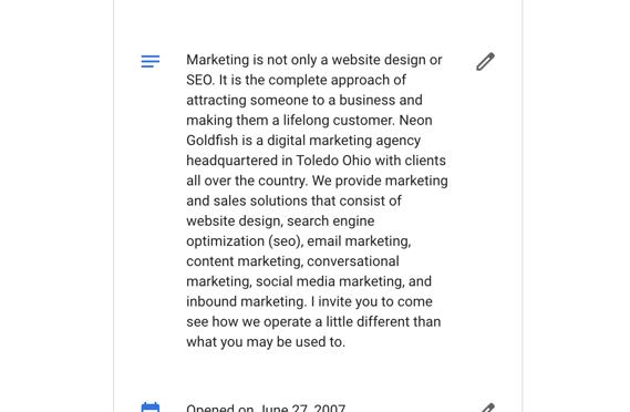 Neon Goldfish Business Description Google My Busniess