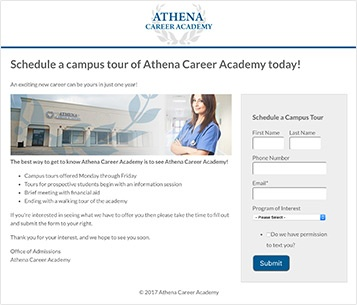 A sample landing page from a vocational education school with contact info capture