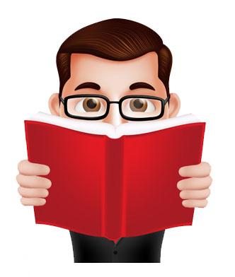 Cartoon person reading book.