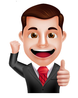 happy cartoon person thumbs up.
