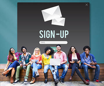 Students and a sample sign up form