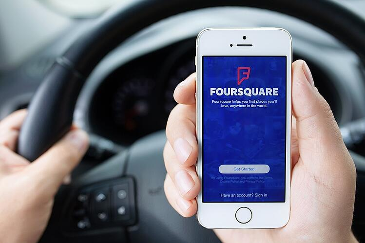 Foursquare app on mobile phone.