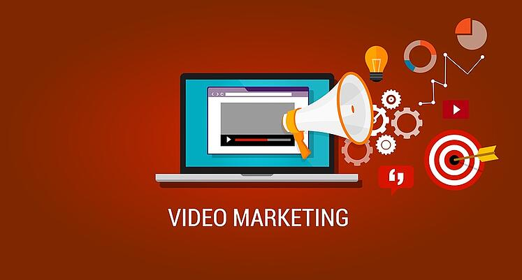 laptop with Video Marketing elements