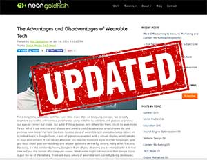Updated Article on wearable tech.