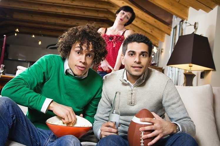 People watching football